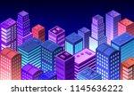 cityscape 3d ultraviolet... | Shutterstock .eps vector #1145636222