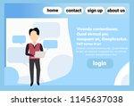 brunette man using tablet chat...   Shutterstock .eps vector #1145637038