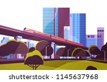 subway monorail over city... | Shutterstock .eps vector #1145637968