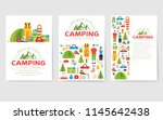 camping trip cards set. hiking... | Shutterstock .eps vector #1145642438