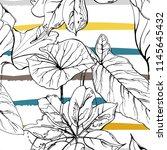 tropical  modern stripes motif. ... | Shutterstock .eps vector #1145645432