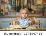 little baby boy  toddler child  ... | Shutterstock . vector #1145647418