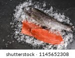 fresh raw trout fish steak and... | Shutterstock . vector #1145652308