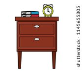 wooden drawer with books and...   Shutterstock .eps vector #1145655305