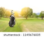 golf equipment and golf bag  ... | Shutterstock . vector #1145676035