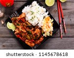 oriental dish   rice with... | Shutterstock . vector #1145678618