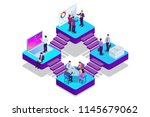 isometric analysis data and... | Shutterstock .eps vector #1145679062