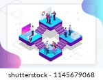 isometric analysis data and... | Shutterstock .eps vector #1145679068