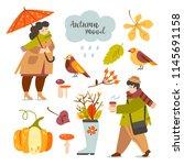 set of illustrations autumn... | Shutterstock .eps vector #1145691158