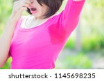 woman with body odor problem... | Shutterstock . vector #1145698235