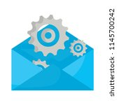 envelope and gears design | Shutterstock .eps vector #1145700242