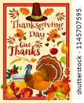 thanksgiving day greeting card... | Shutterstock .eps vector #1145707595