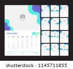 2019 calendar design. simple... | Shutterstock .eps vector #1145711855