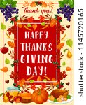 thanksgiving day greeting card... | Shutterstock .eps vector #1145720165