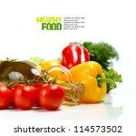 fresh vegetables on the white... | Shutterstock . vector #114573502