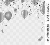 silver balloons  confetti and... | Shutterstock .eps vector #1145736032
