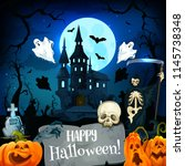 halloween horror castle and... | Shutterstock .eps vector #1145738348