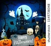 halloween horror castle and... | Shutterstock .eps vector #1145738348