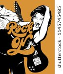 rock on. vector hand drawn... | Shutterstock .eps vector #1145745485
