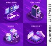 cloud office glow isometric... | Shutterstock .eps vector #1145746598