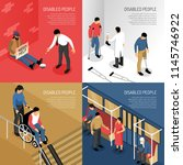 disabled people in public... | Shutterstock .eps vector #1145746922