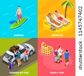 people on vacation isometric... | Shutterstock .eps vector #1145747402