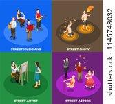 street artist musicians actors... | Shutterstock .eps vector #1145748032