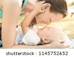 happy loving family. mother and ... | Shutterstock . vector #1145752652