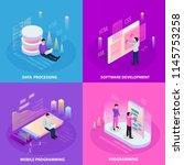 freelance programming isometric ... | Shutterstock .eps vector #1145753258
