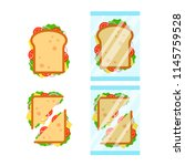 set of sandwiches top view with ... | Shutterstock .eps vector #1145759528