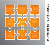 orange puzzle nine pieces... | Shutterstock .eps vector #1145780528
