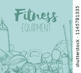set of fitness accessories ... | Shutterstock .eps vector #1145781335