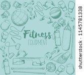 set of fitness accessories ... | Shutterstock .eps vector #1145781338