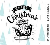 merry christmas. typography.... | Shutterstock .eps vector #1145783078