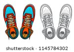 set of shoes  boots  vector... | Shutterstock .eps vector #1145784302