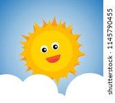 cute smiling happy sun icon... | Shutterstock .eps vector #1145790455