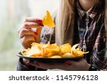 unhealthy fast food snacks. bad ... | Shutterstock . vector #1145796128
