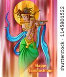vector design of lord krishna... | Shutterstock .eps vector #1145801522