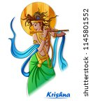 vector design of lord krishna... | Shutterstock .eps vector #1145801552