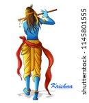 vector design of lord krishna... | Shutterstock .eps vector #1145801555