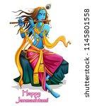 vector design of lord krishna... | Shutterstock .eps vector #1145801558