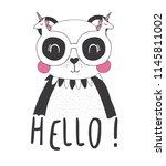 cute panda illustration... | Shutterstock .eps vector #1145811002