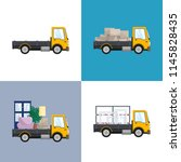 yellow small trucks with... | Shutterstock .eps vector #1145828435