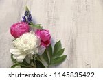 bouquet peonies with leaves ...   Shutterstock . vector #1145835422