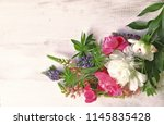 bouquet peonies with leaves ...   Shutterstock . vector #1145835428