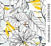 tropical  modern stripes motif. ... | Shutterstock .eps vector #1145841968