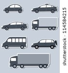 transport set with monochrome... | Shutterstock .eps vector #114584215