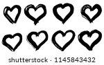 hand drawn hearts set. love... | Shutterstock .eps vector #1145843432