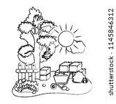grunge farm straw bale next to... | Shutterstock .eps vector #1145846312