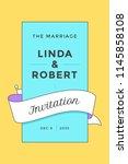 wedding invitation. vintage... | Shutterstock .eps vector #1145858108